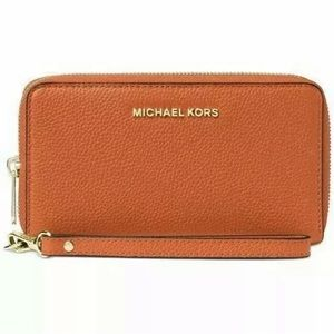 Michael Kors Mercer zip wallet phone case orange